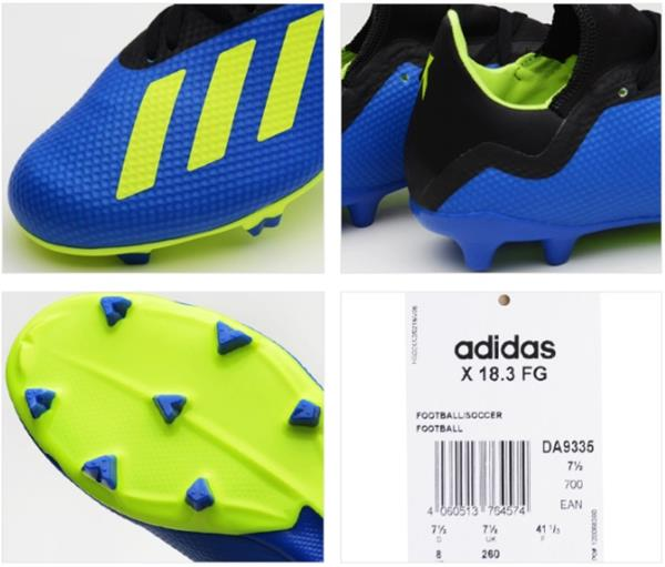 best authentic c8247 a344c Adidas Men X 18.3 FG Cleats Blue Lime Soccer Football Shoes Boot ...