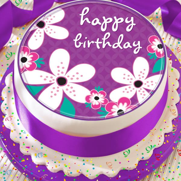 Happy Birthday Purple Flower 75 Inch Precut Edible Cake Topper