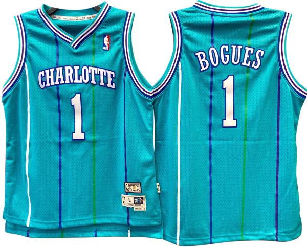 new product 7a649 67436 Details about Muggsy Bogues Charlotte Hornets Hardwood Classics Throwback  Youth NBA Swingman J