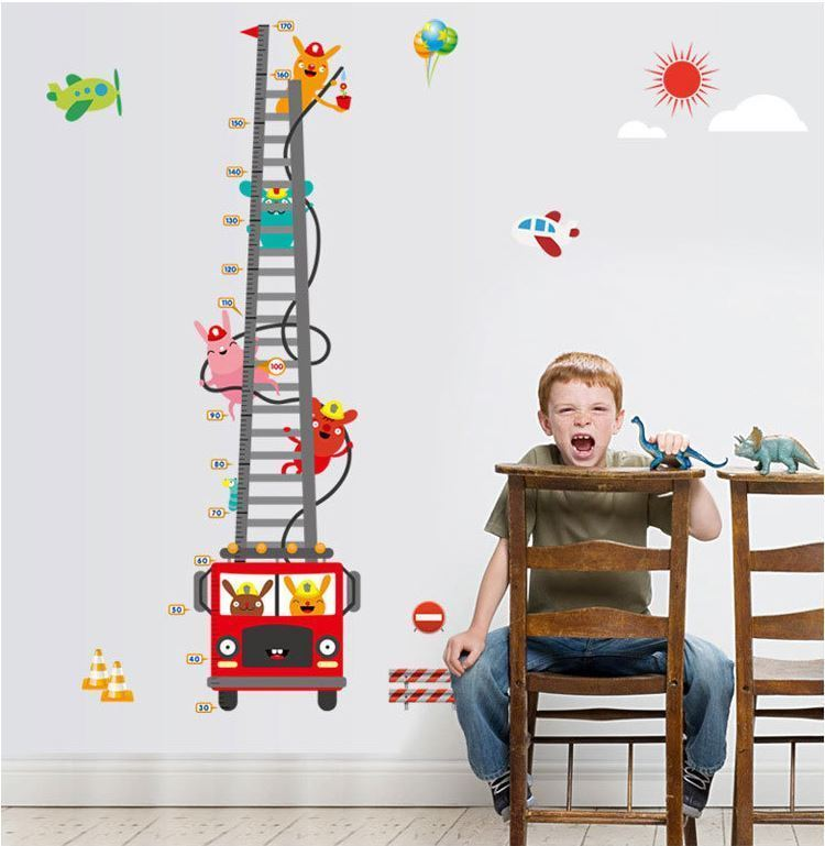 Wall Stickers Removable Fire Truck Ladder Height Kids Nursery Decal