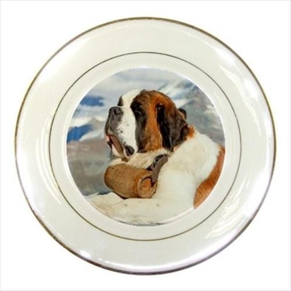 Gentle St.Bernard Porcelain Plate w// Display Stand Puppy Dog