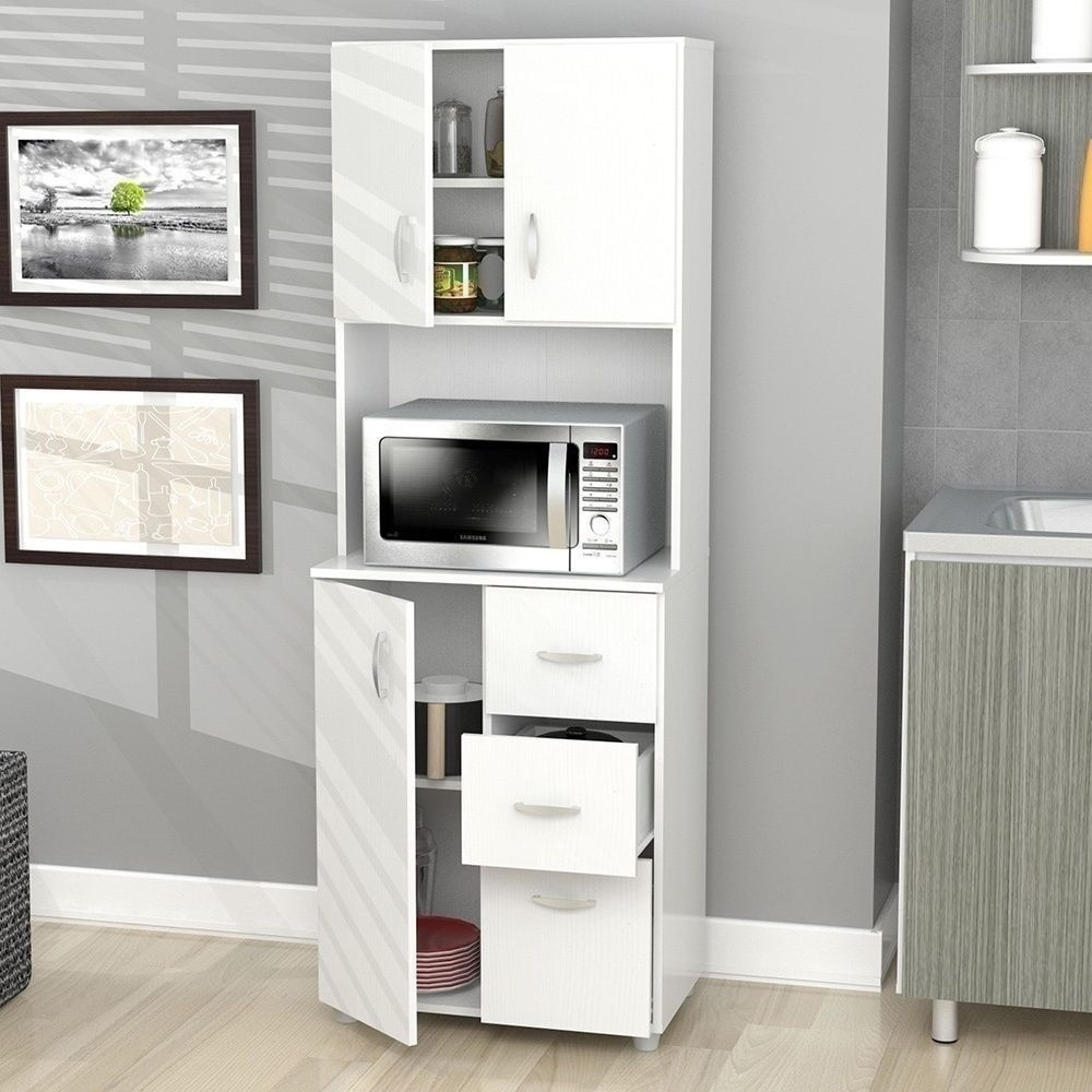 Kitchen shelves for microwave - New Tall Kitchen Microwave Cart White Utility Cabinet Storage Shelves Cupboard