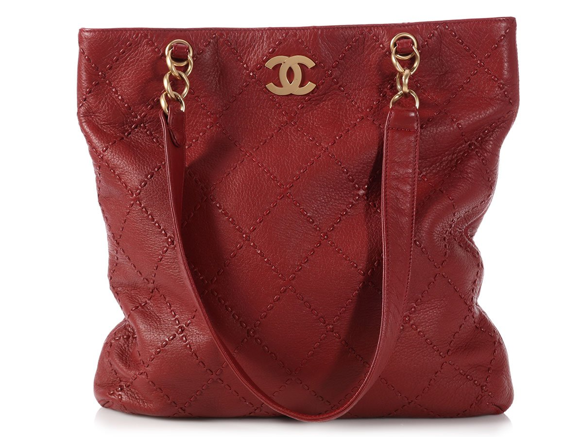 df796735a9 CHANEL Red Quilted Soft Caviar Slim Tote Bag Purse ~ Tall & slouchy ...