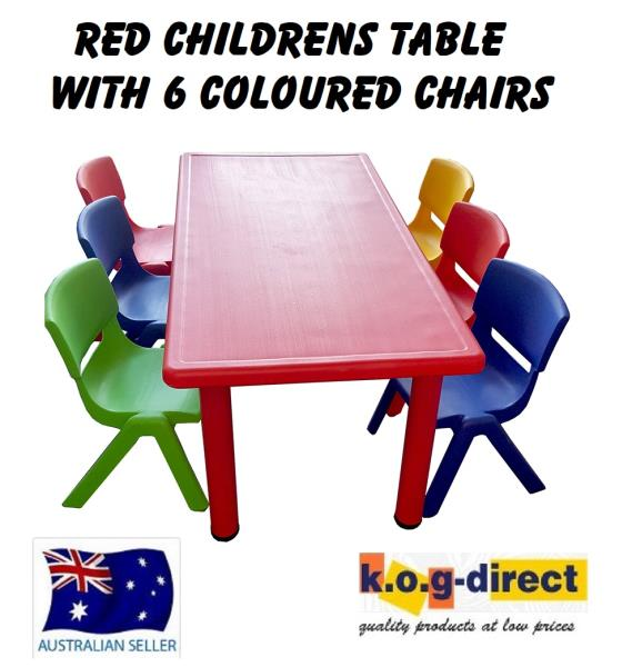 Childrens Kids Activity Table Red And 6 Colour Chairs