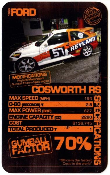 Ford Cosworth RS Gumball Custom Cars Top Trumps Card - Sports cars top trumps