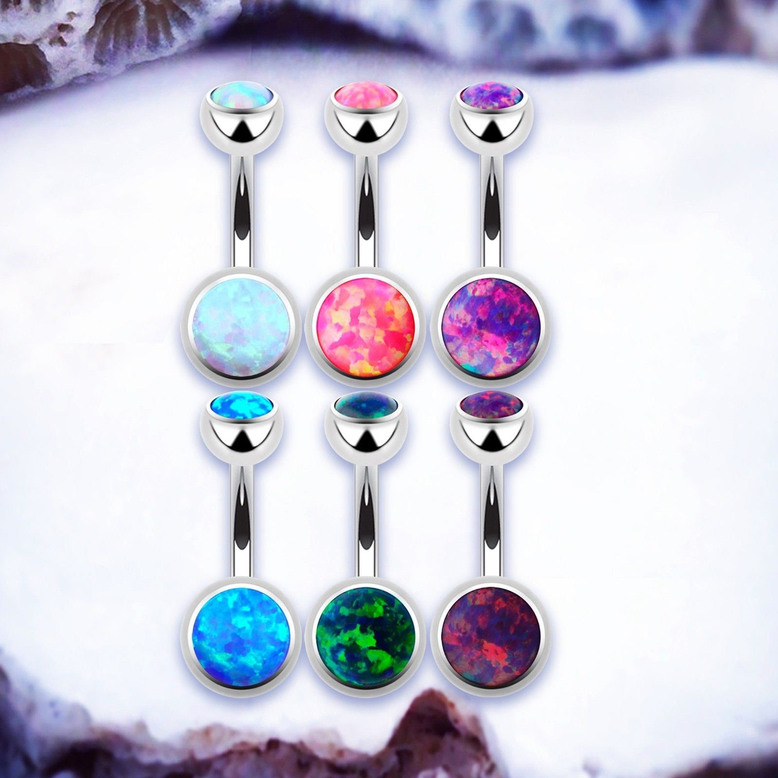 Details About Celestial Opal Belly Button Bars Titanium Silver Belly Rings Navel Bar Piercing