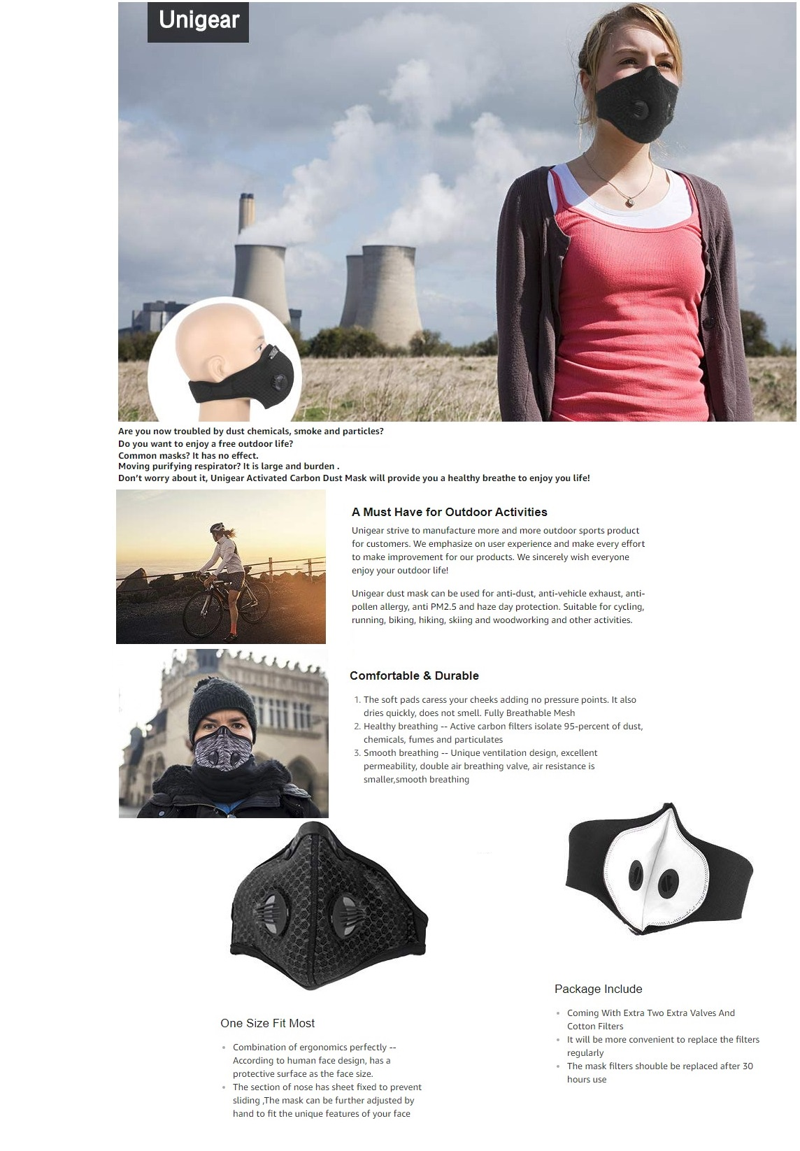 Details about Respirator Mask Dust Proof Filtered Activated Carbon  Filtration Half Face Filter
