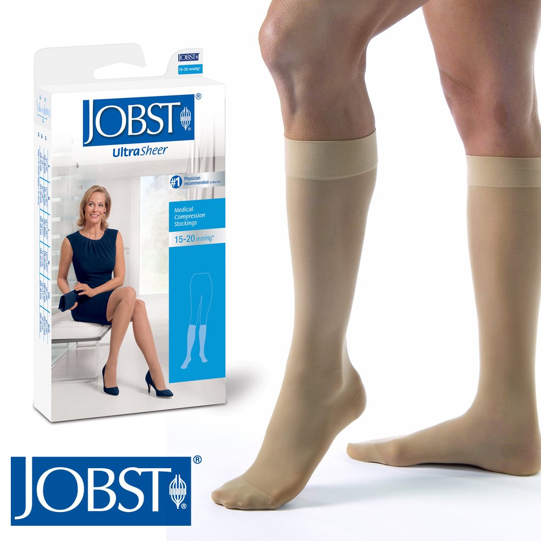 50fbc2145 Jobst Women UltraSheer Stockings 15-20 mmhg Compression Knee High Support  Socks