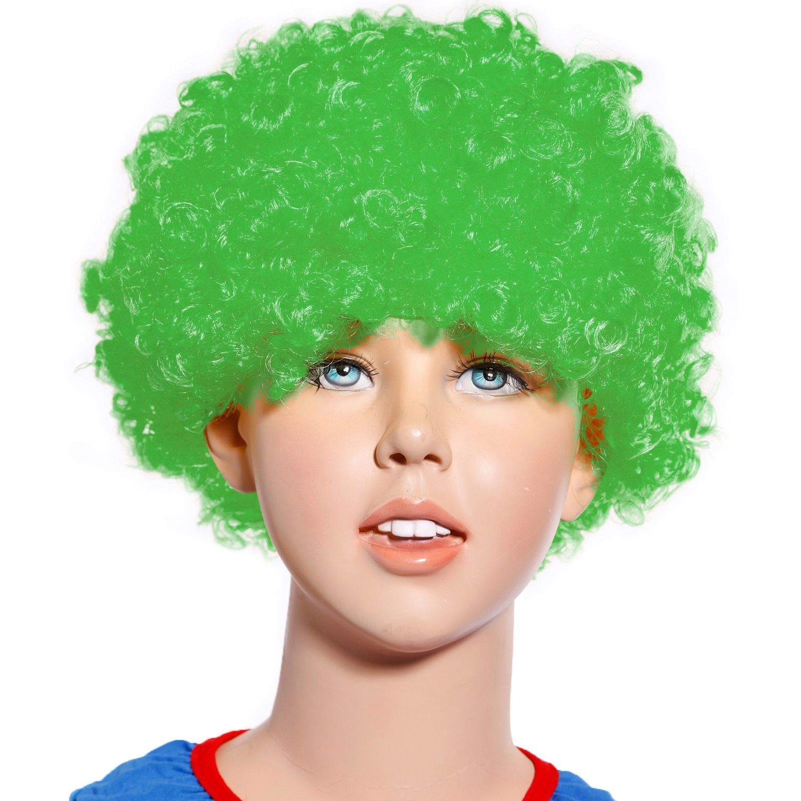 Details about 80s Curly Afro Wig Party Clown Funky Disco Kids Childs Adult  Costume Green Hair aac1fb27fae2