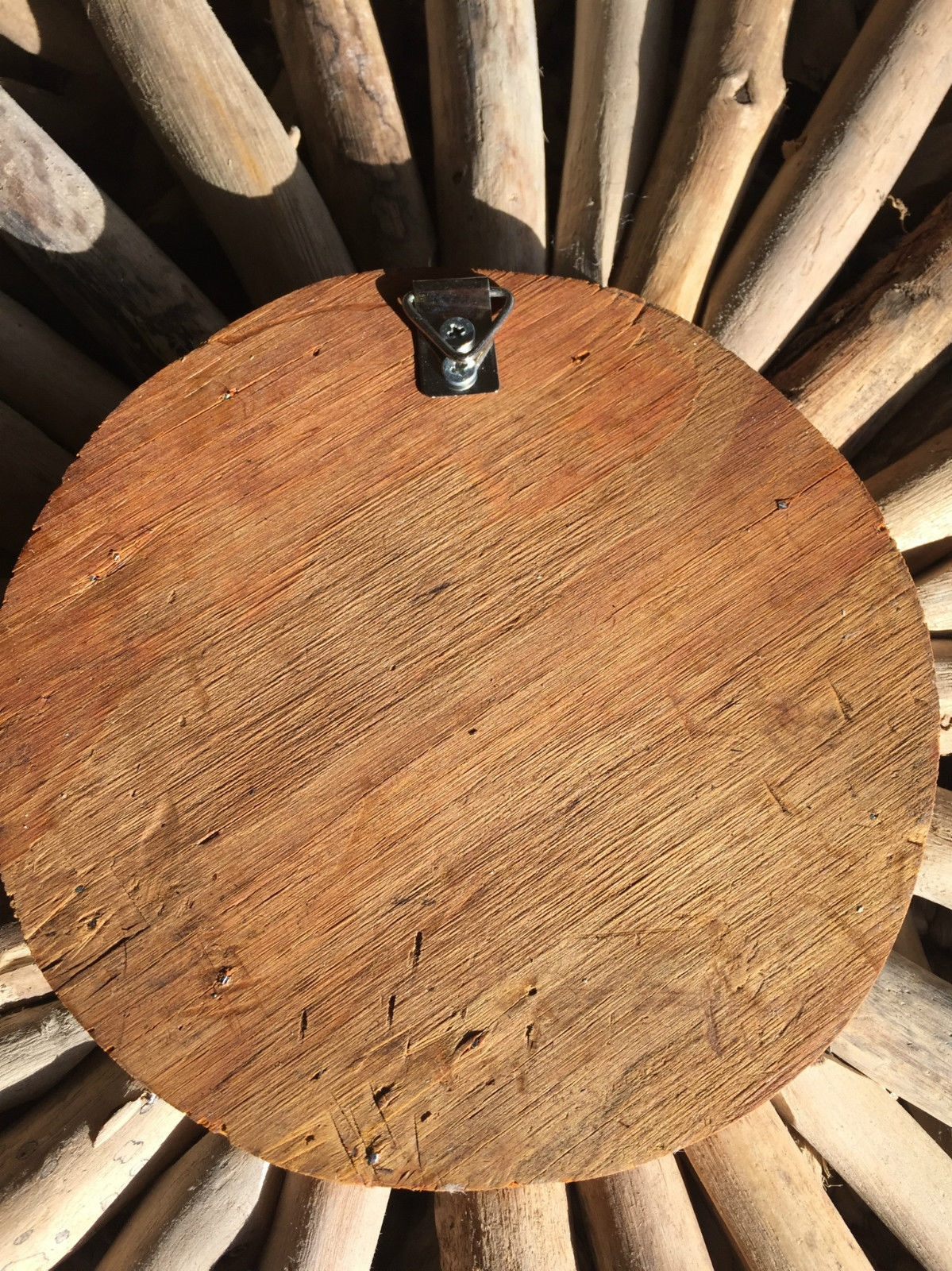 Driftwood round wall hanging art indoor outdoor 55cm ebay for Driftwood wall