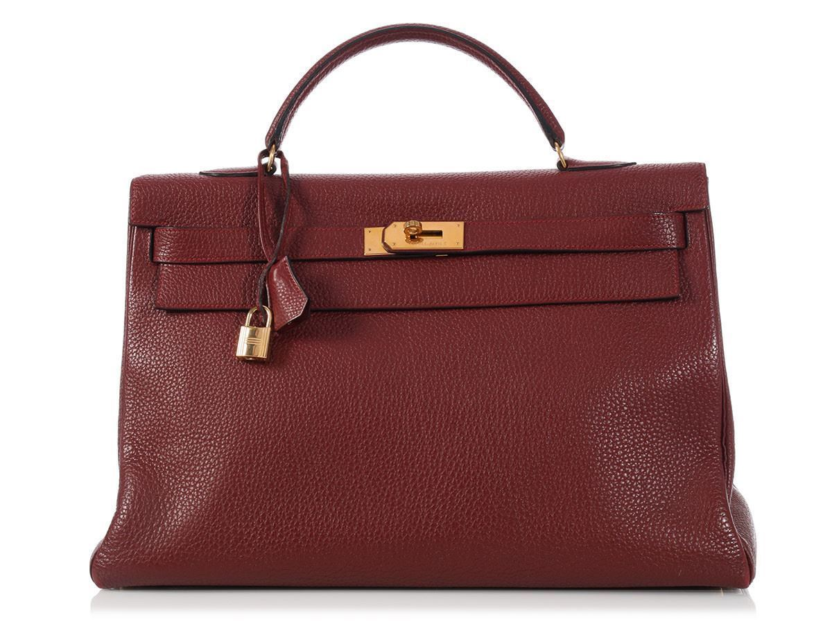 19e25bbfb3c6 ... spain hermes rouge kelly 40 bag purse big and slouchy in red fjord  leather 59af5 1ac74
