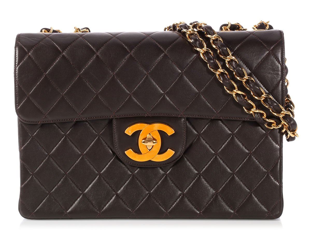 0428f81b839d CHANEL Jumbo Vintage Dark Brown Quilted Lambskin Classic Single Flap ...