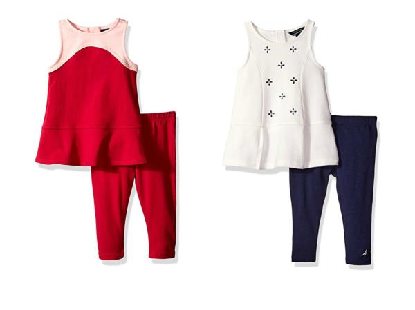 cb8c266ad68f2 Details about Nautica Infant Toddler Girl's Fashion Top with Leggings 2-Piece  Set Baby NEW