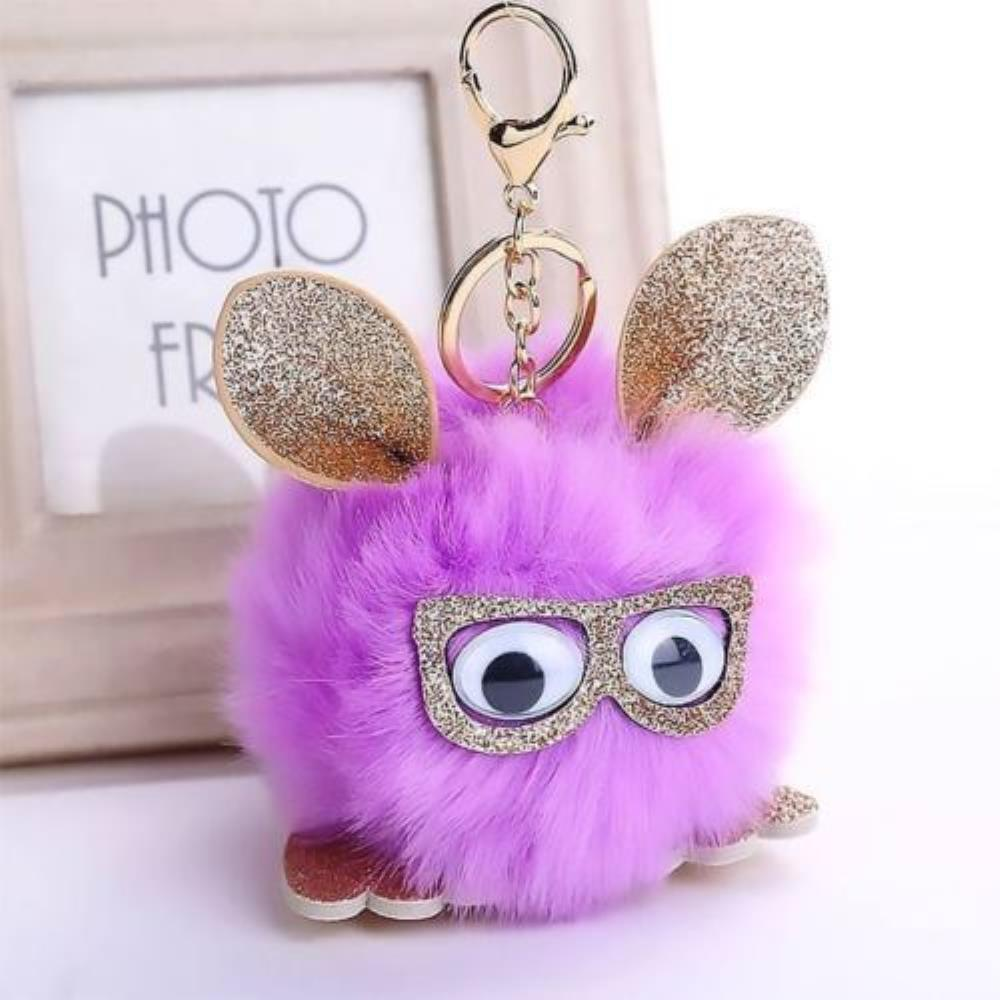 New Fun Pom Pom Keyring Bag charm Fluff Ball Sparkly Faux Fur  083a4dcd3e274