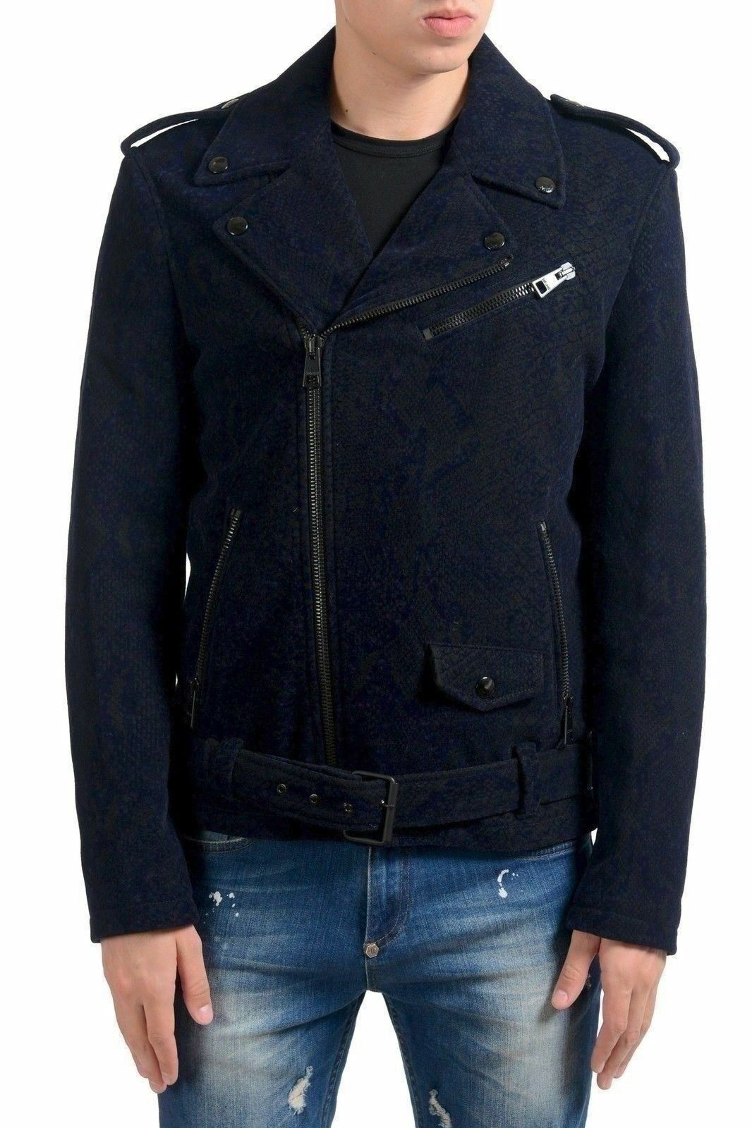7b268988edf8b Just Cavalli Men's Wool Double Breasted Belted Jacket US S IT 48 ...