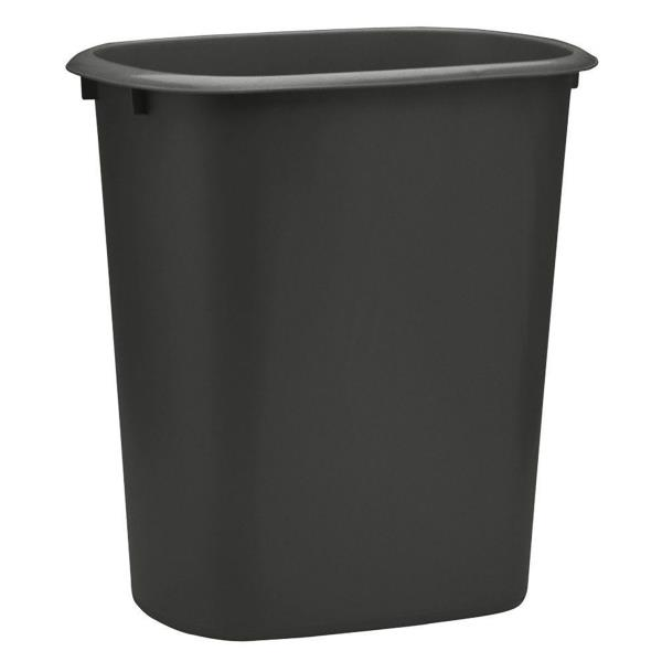 Plastic Trash Can 2 5gal Black Waste Garbage Basket Recycling Bin Kitchen Office