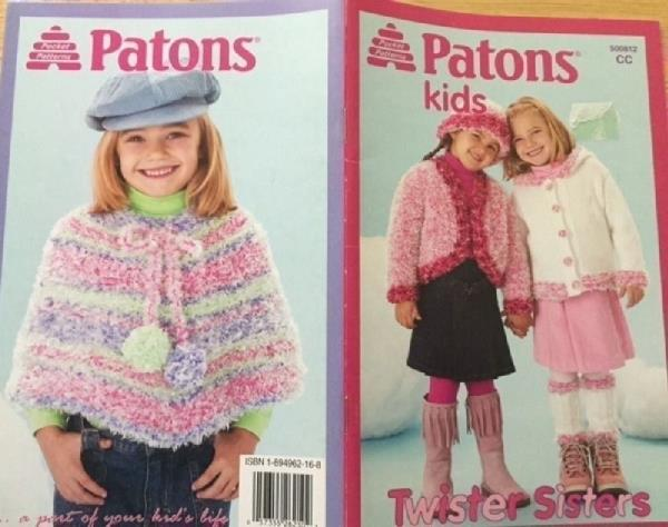 Knit Pattern Patons Kids Twister Sisters Sweater Hat Vest Poncho