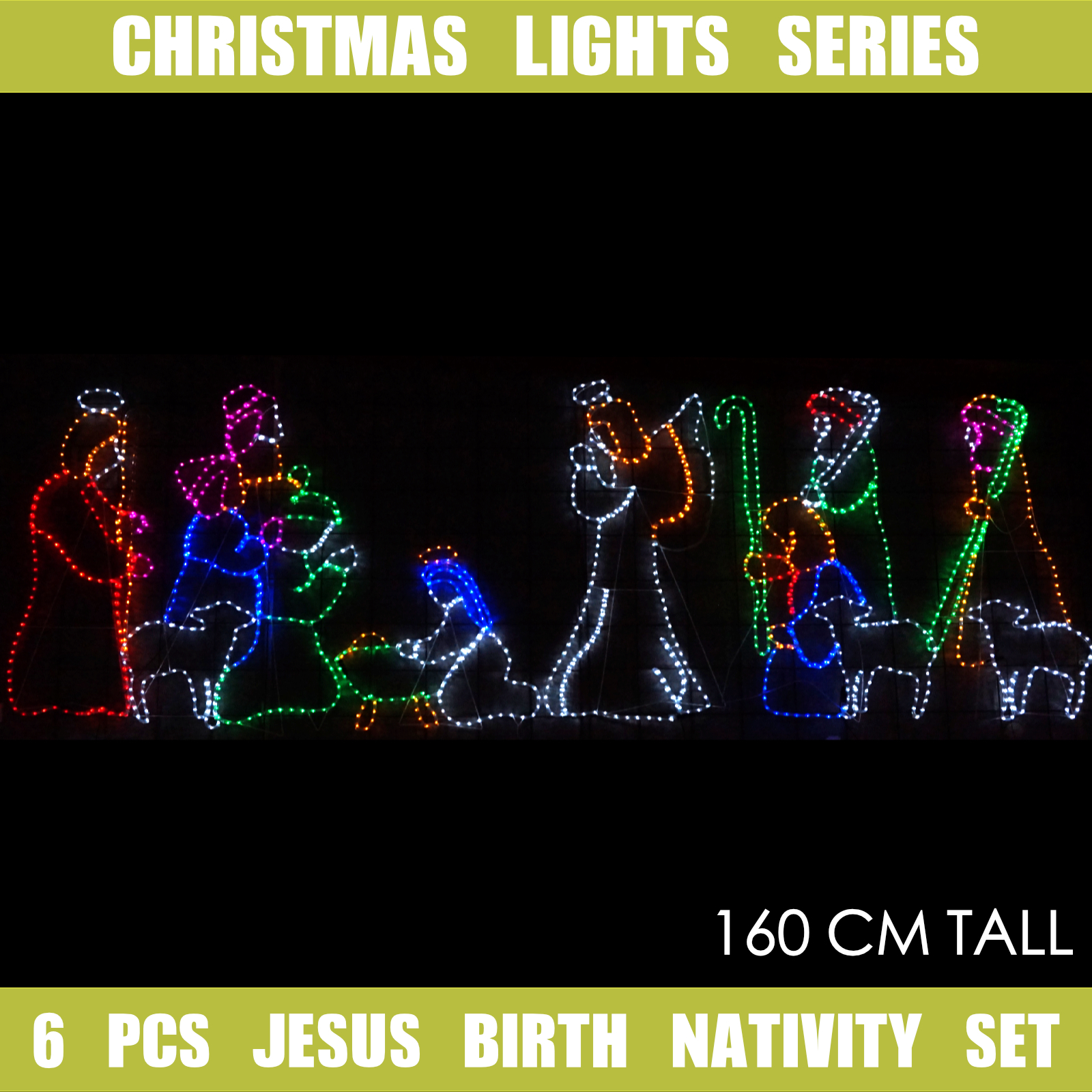 Christmas Lights LED Motif Jesus Birth Nativity Set Indoor Outdoor ...