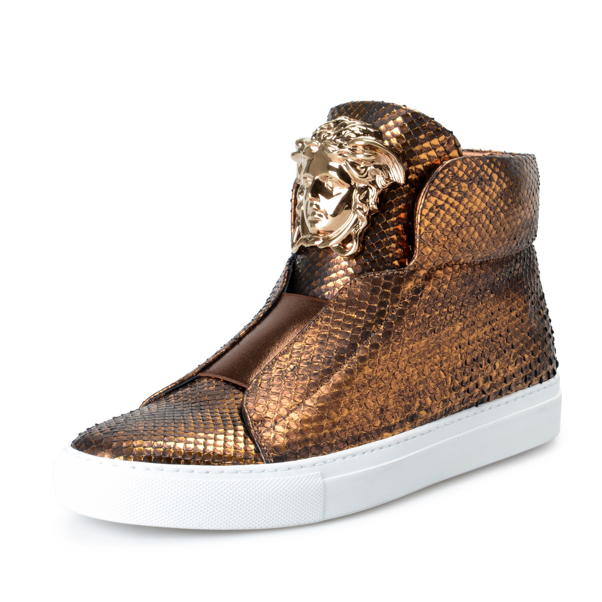 f924baf4a0 Details about Versace Men's Python Skin High Top Slip On Fashion Sneakers  Shoes US 7 IT 40