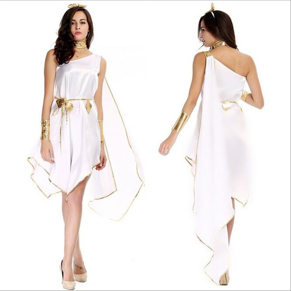 ff3c440ac Greek Goddess Costume Adult Toga Roman Halloween Fancy Dress | eBay