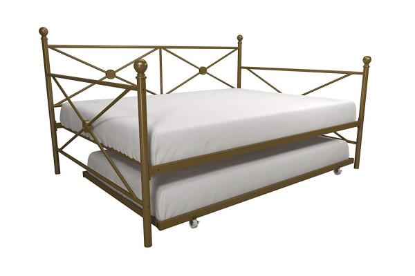 Gold Metal Daybed Frame Full Bed With Twin Trundle Kids Bedroom