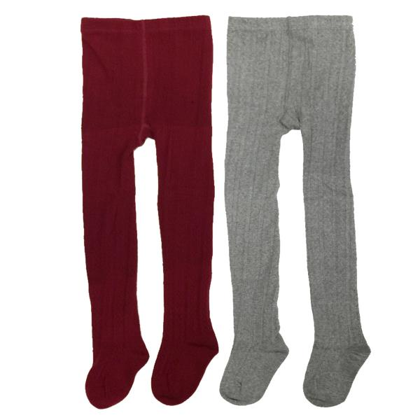 Wrapables Burgundy And Gray Cotton Diamond Weave Knit Tights For