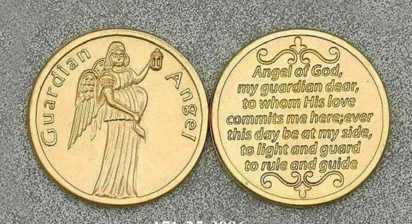Details about Guardian Angel Catholic Prayer Token Pocket Coin Gold Tone