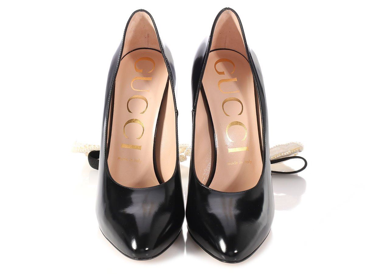 d27ede37e88 New GUCCI Black Pearl Bow Embellished Pumps