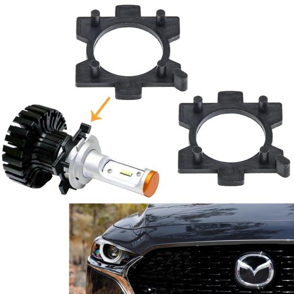 Details about 2pcs H7 Headlight LED Bulb Conversion Holder Adapters For  Mazda 3 5 6 MX-5 Miata