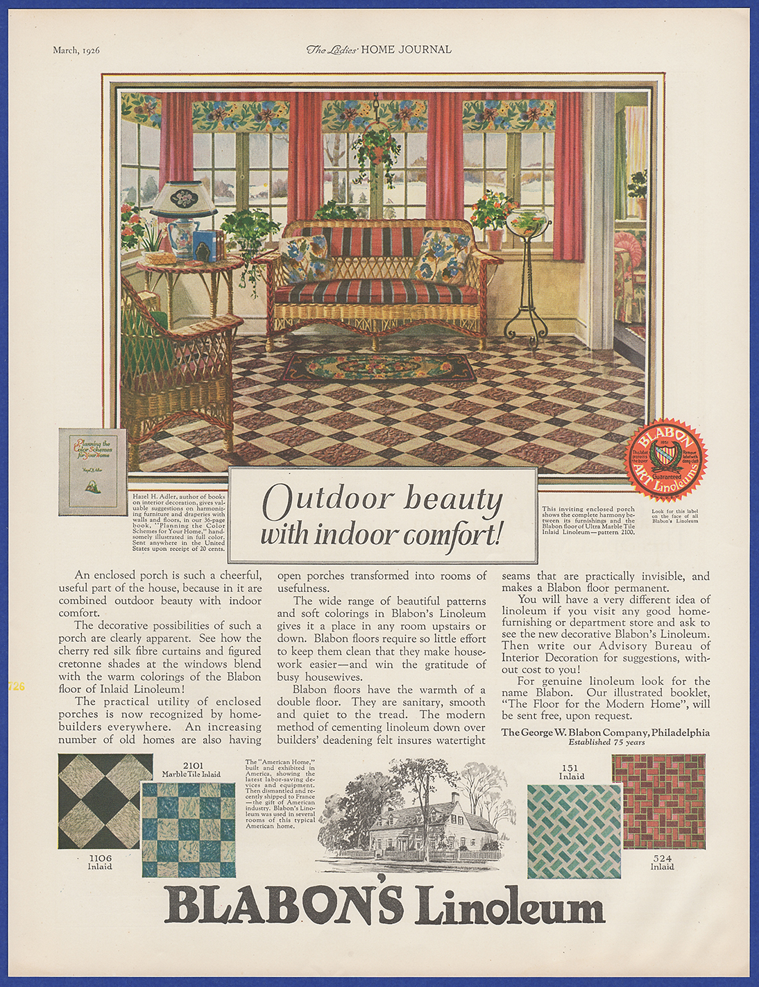 Vintage 1926 BLABON'S Linoleum Flooring Home Art Decor Print