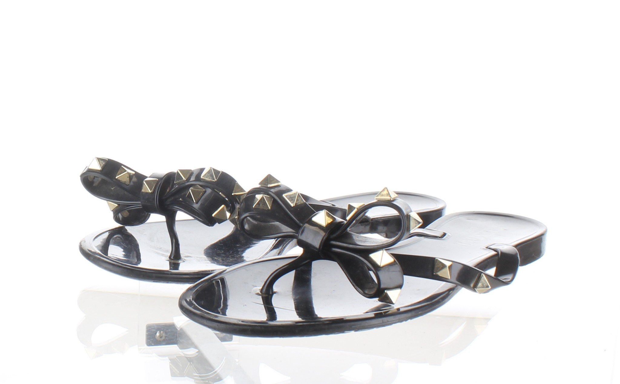 c80775bda1f Details about 1133 Valentino Garavani Rockstud Bow Black Jelly Thong Sandals