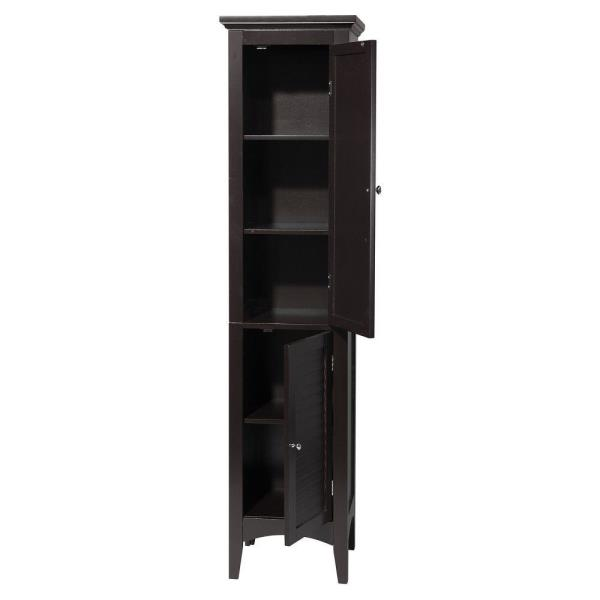 cabinet linen wooden itm tall towel tower bathroom finish storage espresso organizer