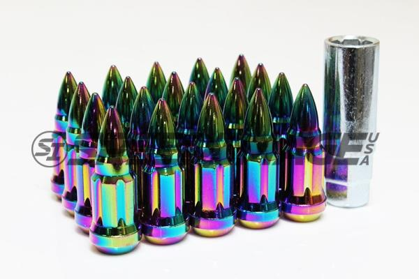 Z RACING BULLET NEO CHROME STEEL LUG NUTS 12X1.5MM EXTENDED KEY TUNER CLOSED