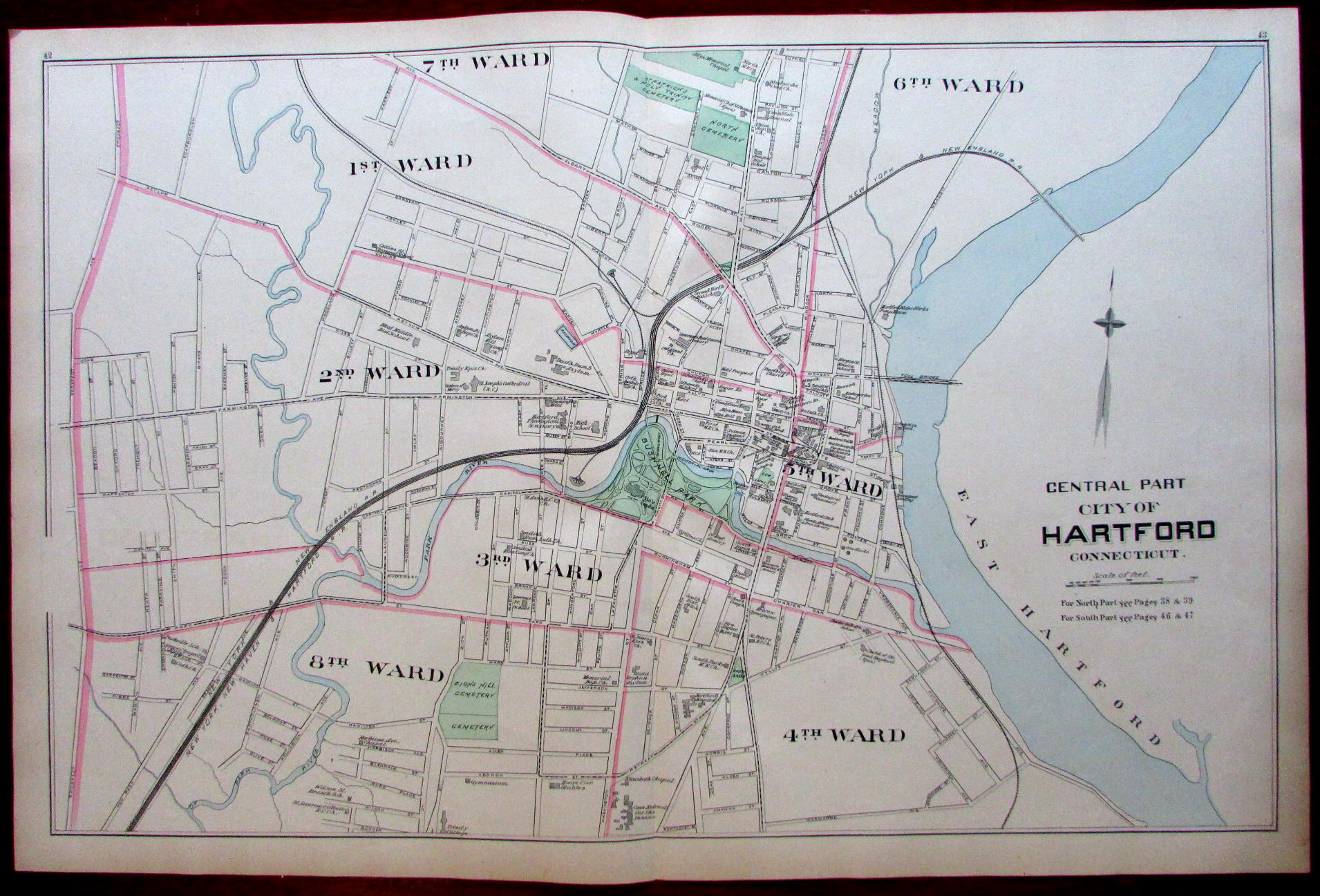 Hartford downtown center city plan 1893 Connecticut Hurd map ...