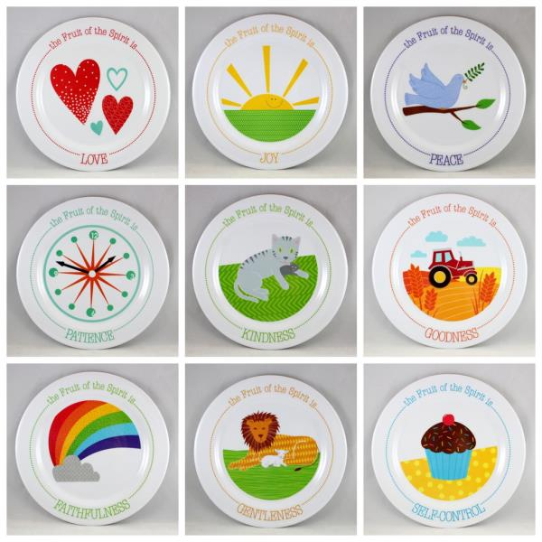 The Fruit of the Spirit Kids Plates SET of 9 Brand NEW BPA-Free Non-Breakable  sc 1 st  eBay & The Fruit of the Spirit Kids Plates SET of 9 Brand NEW BPA-Free Non ...