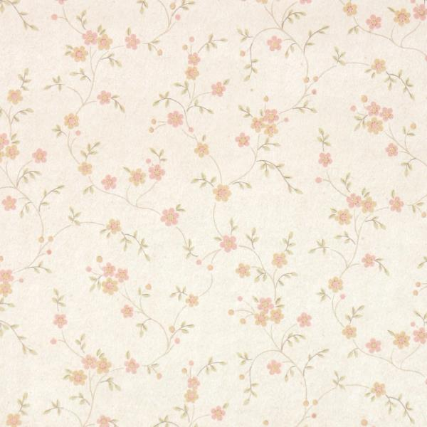 Details About 1970s Floral Vintage Wallpaper Peach Pink Tiny Flowers On Cream