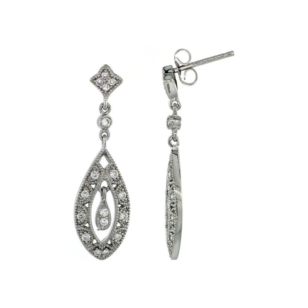 04040d419 Details about .925 Sterling Silver Teardrop Marquise Cut Out Dangle Earrings  Brilliant Cut Cz .