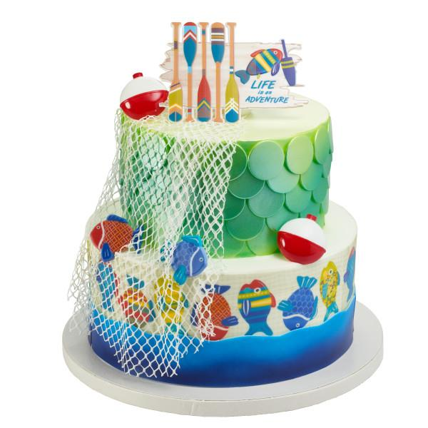 25 Piece Plus Sticker Bundle of Fun Fishing Lure and Bobber Cupcake Toppers and Bonus Birthday Ring