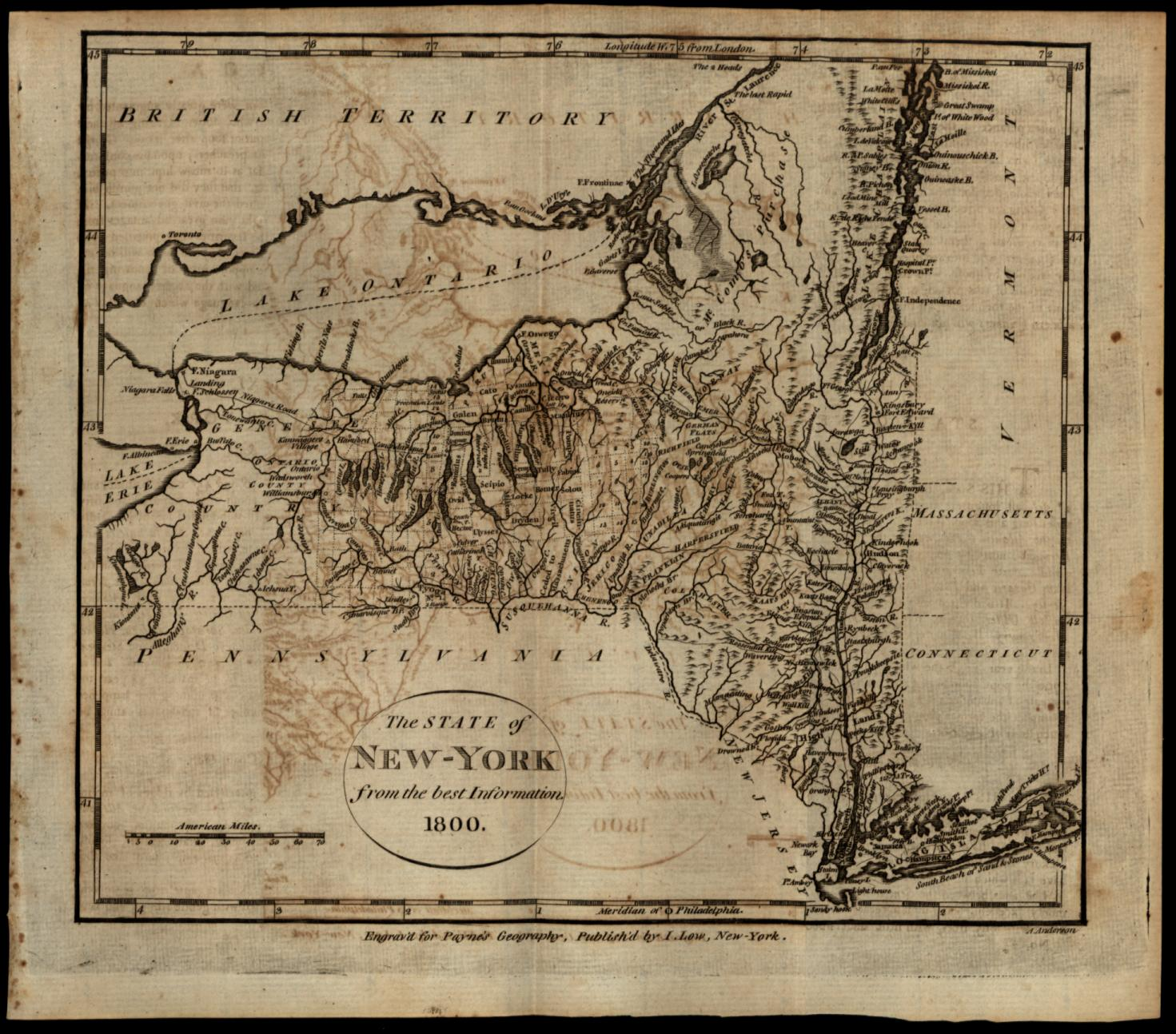 Map Of New York In 1800.New York State Map 1800 A Anderson Engraved Payne Low Ebay