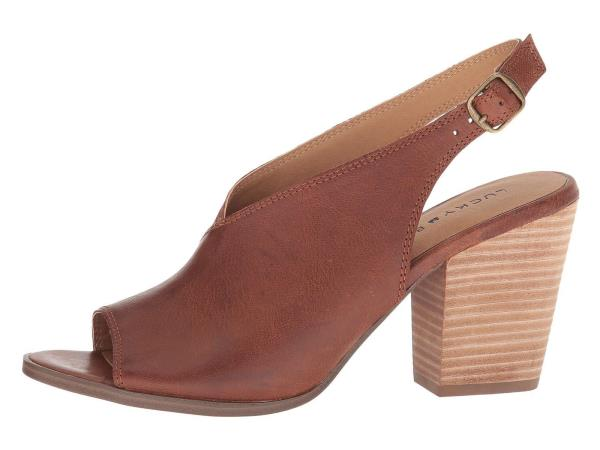 b1808272b69 Lucky Brand Women s Ovrandie Pump Toffee Leather open Toe Stacked ...