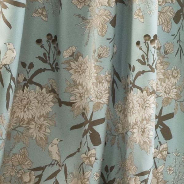 Blue And Tan Curtains: Set 2 Light Blue Brown Floral Birds Curtains Panels Drapes