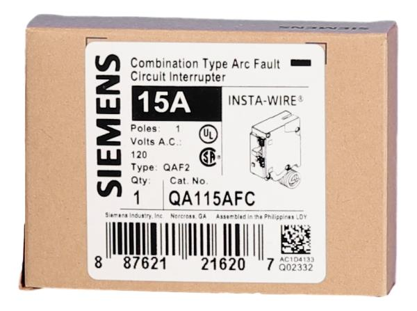 Brand New SIEMENS QA115AFC 15A ARC-FAULT CIRCUIT INTERRUPTER