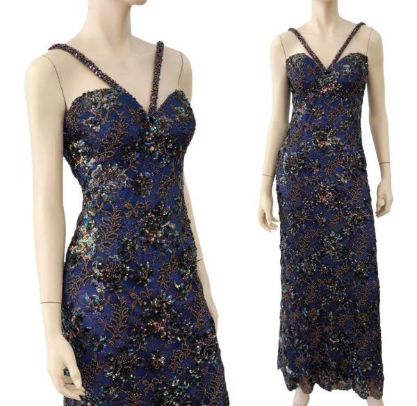 BOB MACKIE Blue Bead Sequin Lace Corset Formal Gown Dress 2 | eBay