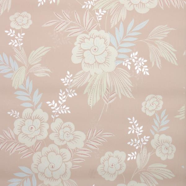 Details About 1940s Floral Vintage Wallpaper Ivory Flowers Blue Leaves On Pink