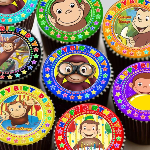 Beautiful Mod Monkey Pink Edible Cupcake Toppers Decoration Home & Garden Other Baking Accessories