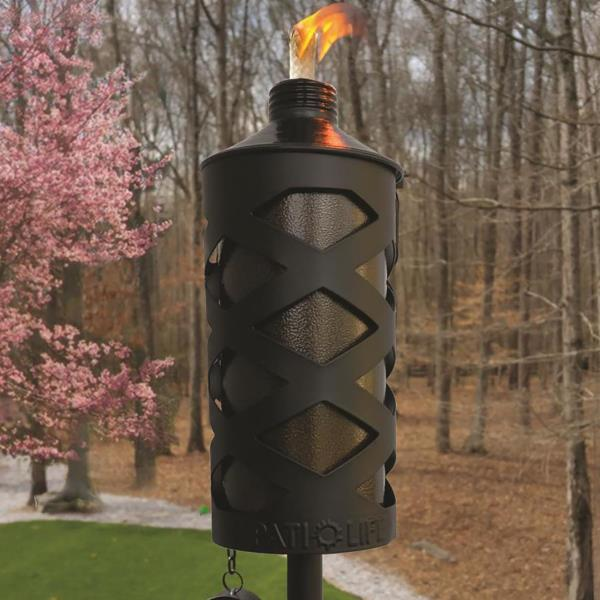 GARDEN CITRONELLA TORCH 28 In Patio Backyard Bug Control Stainless Steel  Black