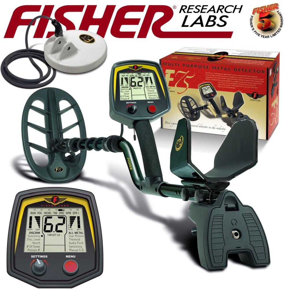 Fisher f75 limited edition black metal detector w/ 2 dd waterproof.