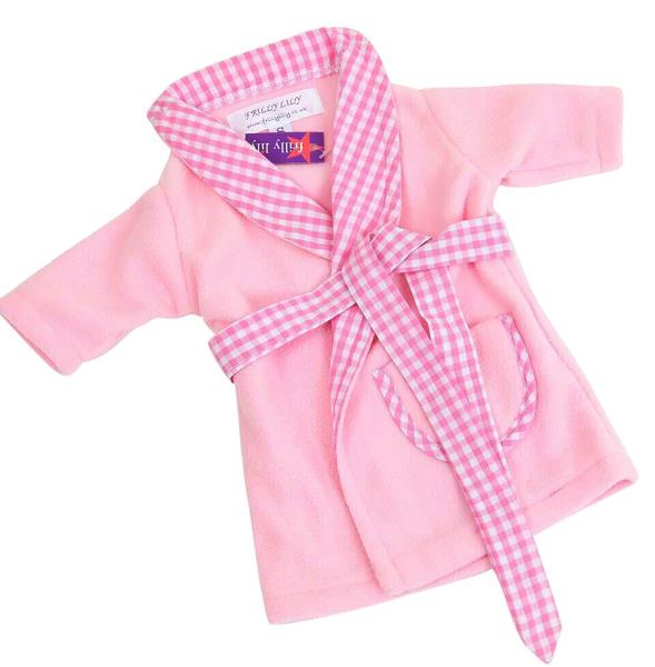 FRILLY LILY PINK WRAP DRESSING GOWN WITH GINGHAM TRIM FOR 46CM BABY ...
