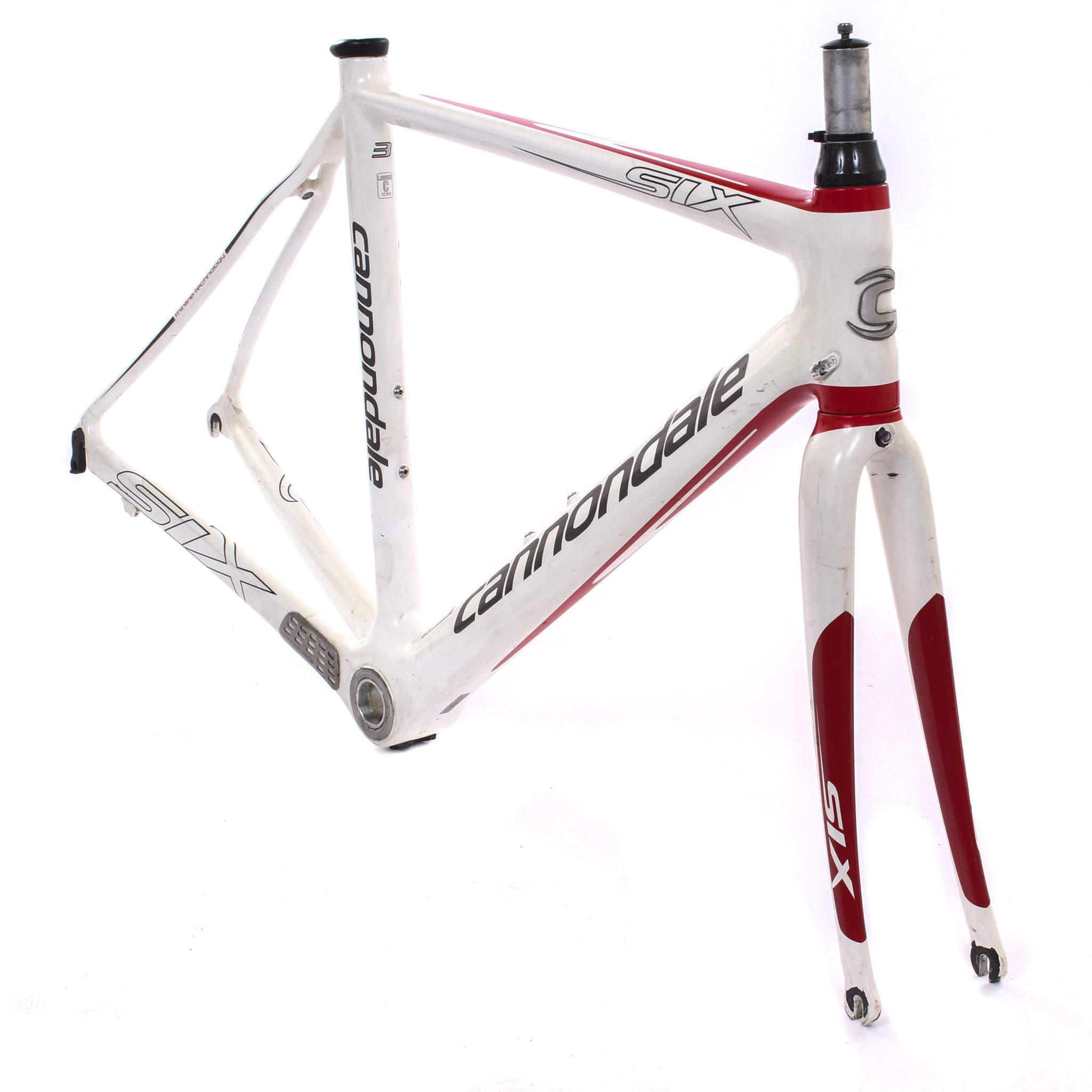 5e853598c80 USED Cannondale Six Carbon 3 52cm Carbon Fiber Road Bike Frameset White Red