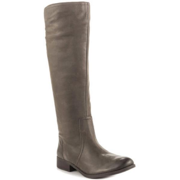 JESSICA SIMPSON RANDEE GRAY LEATHER KNEE HIGH WIDE CALF ELASTIC PANNEL BOOTS